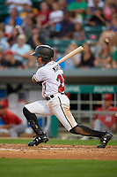 Indianapolis Indians left fielder Jason Martin (27) follows through on a swing during a game against the Rochester Red Wings on July 24, 2018 at Victory Field in Indianapolis, Indiana.  Rochester defeated Indianapolis 2-0.  (Mike Janes/Four Seam Images)