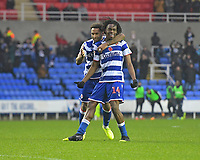 Ovie Ejaria of Reading (14) celebrates scoring the second goal during Reading vs Luton Town, Sky Bet EFL Championship Football at the Madejski Stadium on 9th November 2019