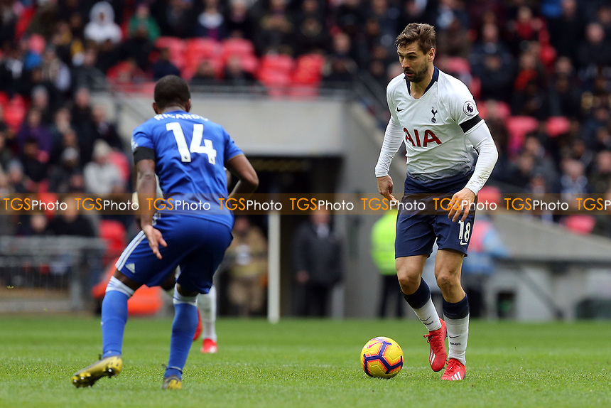 Ricardo Pereira of Leicester City and Fernando Llorente of Tottenham Hotspur during Tottenham Hotspur vs Leicester City, Premier League Football at Wembley Stadium on 10th February 2019