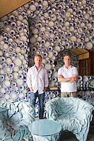 Fernando and Humberto Campana in the fantastical lobby they designed for the entrance to the Collectors' Villa at Iniala