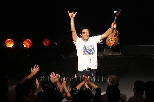 "Aug. 17, 2010 ; Kanazawa, JPN - Jake Shimabukuro bids farewell to his fans at the Hokkoku Shimbun Akabane Hall during the ""I Love Ukulele Tour 2010""."