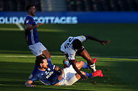 30th July 2020; Craven Cottage, London, England; English Championship Football Playoff Semi Final Second Leg, Fulham versus Cardiff City; Sean Morrison of Cardiff City tackles Joshua Onomah of Fulham