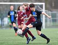 20200208 – BRUGGE, BELGIUM : Genk's Nikki Janssen pictured in a duel with Club Brugge's Isabelle Iliano during a women soccer game between Dames Club Brugge and KRC Genk Ladies on the 15 th matchday of the Belgian Superleague season 2019-2020 , the Belgian women's football  top division , saturday 08 th February 2020 at the Jan Breydelstadium – terrain 4  in Brugge  , Belgium  .  PHOTO SPORTPIX.BE | DAVID CATRY