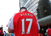 9th September 2017, Emirates Stadium, London, England; EPL Premier League Football, Arsenal versus Bournemouth; Arsenal fan arriving at Emirates Stadium wearing Alexis Sanchez of Arsenal shirt
