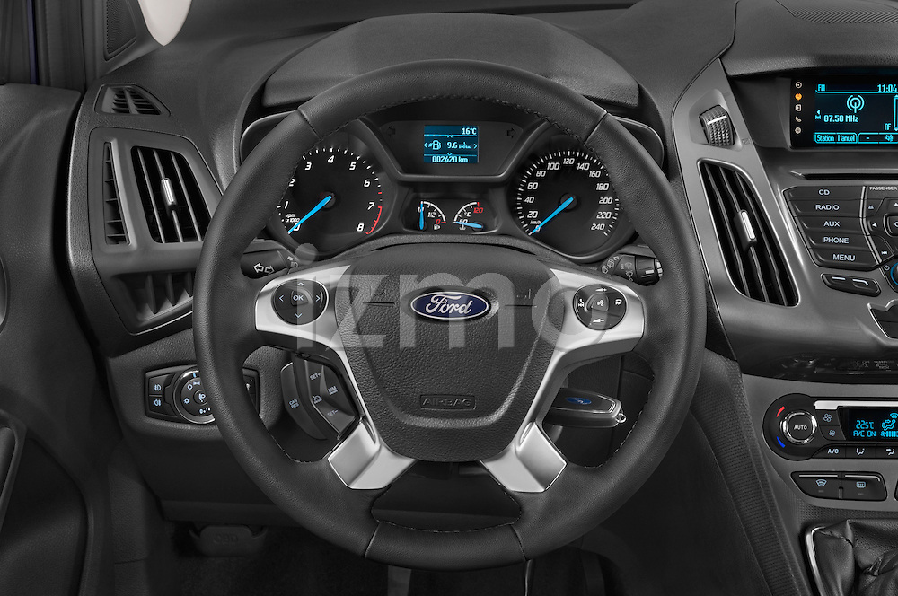 Car pictures of steering wheel view of a 2015 Ford Grand Tourneo Connect Titanium 5 Door Minimpv Steering Wheel