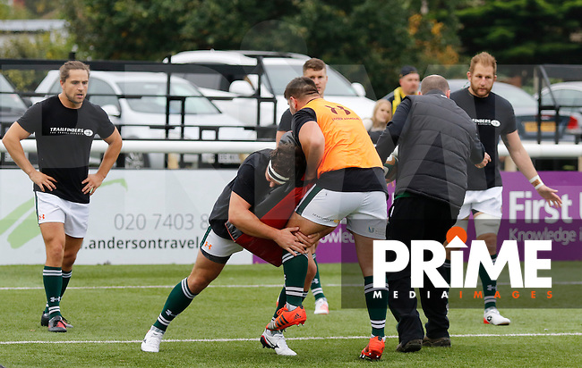 Ealing Trailfinders RFC practice tackles in the warm up during the Greene King IPA Championship match between Ealing Trailfinders and Bedford Blues at Castle Bar , West Ealing , England  on 29 October 2016. Photo by Carlton Myrie / PRiME Media