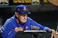 St. Lucie Mets pitching coach Phil Regan (33) in the dugout during a game against the Bradenton Marauders on April 11, 2015 at McKechnie Field in Bradenton, Florida.  St. Lucie defeated Bradenton 3-2.  (Mike Janes/Four Seam Images)