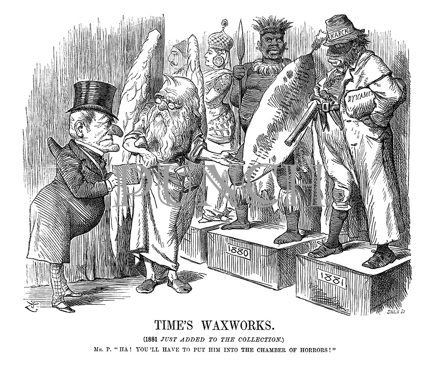 """Time's Waxworks. (1881 just added to the collection.) Mr. P. """"Ha! You'll have to put him into the chamber of Horrors!"""""""