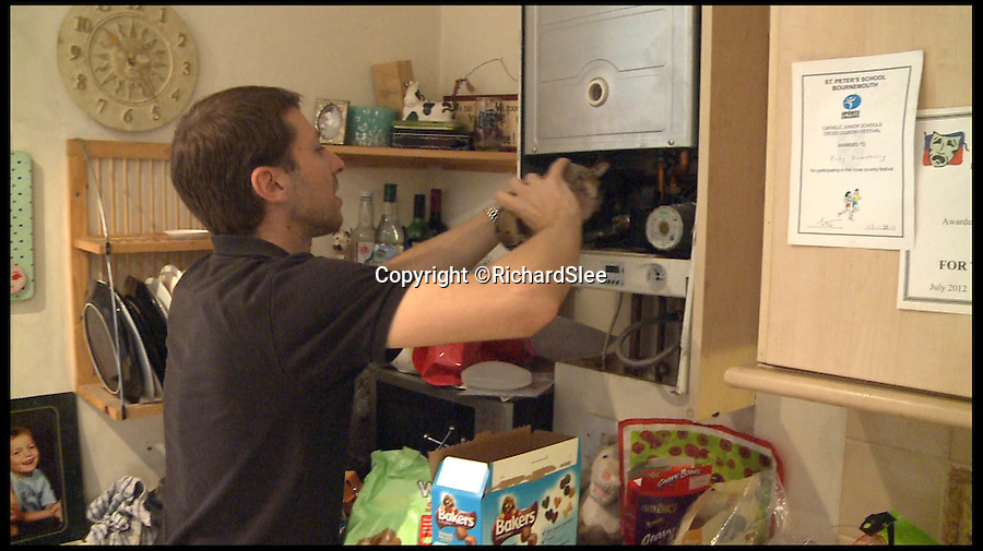 BNPS.co.uk (01202 558833)<br /> Pic: RichardSlee/BNPS<br /> <br /> **Please use full byline**<br /> <br /> Still taken from video.  Shows the snake being removed from the boiler, held by Jason from Reptiles Plus.<br /> <br /> A FAMILY got a fright when they found a four-foot python hiding in their boiler.<br /> <br /> The sneaky serpent is believed to be an escaped pet which slithered into the house overnight through the catflap looking for somewhere warm and safe to hide. <br /> <br /> Dhan Ramdharry and his family were just going about their business in the kitchen when they discovered the snake, which has now been identified as a royal or ball python, a type of constrictor snake.<br /> <br /> Dhan's wife Kelly, who has a severe phobia of snakes, suffered a panic attack when she saw it and fled. Their 13-year-old son Brandon also left the house but their children Ruby, nine, and Marley, 14, were keen to watch what happened.<br /> <br /> Dhan, a care home owner, tried calling the RSPCA and the local vets with no luck, but eventually got hold of Jason Miller from Reptiles Plus, who went to remove the constrictor from their home in Bournemouth.<br /> <br /> The snake is known as a ball python because of its tendency to curl into a ball when stressed or frightened and is a popular pet due to its typically docile temperament. <br /> <br /> This one was a fully-grown male of about 4ft.<br /> <br /> The centre is currently monitoring the snake and it will then be rehomed or taken to the RSPCA.