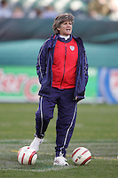 06 November,  2004.   USWNT head coach April Heinrichs yells to her team before the start of their game against Denmark at  Lincoln Financial Field in Philadelphia, Pa.