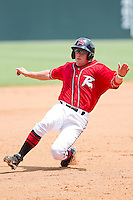 Skyler Stromsmoe #1 of the Richmond Flying Squirrels slides into third base during ther Eastern League game against the Harrisburg Senators at The Diamond on July 22, 2011 in Richmond, Virginia.  The Squirrels defeated the Senators 5-1.   (Brian Westerholt / Four Seam Images)
