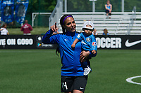 Kansas City, MO - Saturday May 13, 2017: Sydney Leroux an son Cassius prior to a regular season National Women's Soccer League (NWSL) match between FC Kansas City and the Portland Thorns FC at Children's Mercy Victory Field.
