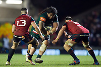 Logovi'i Mulipola of Leicester Tigers takes on the Munster Rugby defence. European Rugby Champions Cup match, between Leicester Tigers and Munster Rugby on December 17, 2017 at Welford Road in Leicester, England. Photo by: Patrick Khachfe / JMP