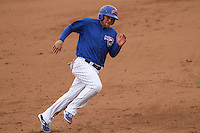 Iowa Cubs infielder Chris Valaika (4) rounds third base during a Pacific Coast League game against the Colorado Springs Sky Sox on May 11th, 2015 at Principal Park in Des Moines, Iowa.  Colorado Springs defeated Iowa 13-7.  (Brad Krause/Four Seam Images)
