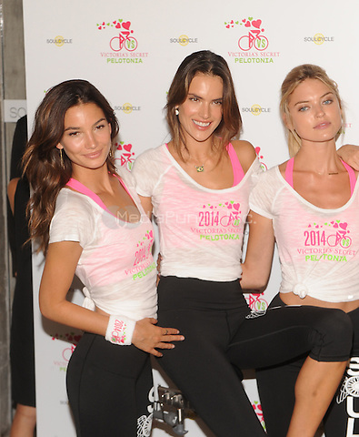 New York,NY- July 9: Victoria's Secret models Lily Aldridge, Alessandra Ambrosio, Martha Hunt, attend Victoria's Secret Angel Supermodel Cycle For Pelotonia in New York City on July 9,2014. Credit: John Palmer/MediaPunch