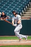 Akron RubberDucks second baseman Todd Hankins (8) hits a home run during the second game of a doubleheader against the Bowie Baysox on June 5, 2016 at Prince George's Stadium in Bowie, Maryland.  Bowie defeated Akron 12-7.  (Mike Janes/Four Seam Images)