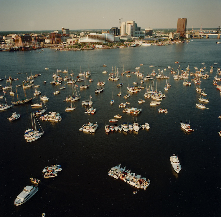 """1991 June ..Redevelopment.Downtown South (R-9)..Harborfest Aerials from helicopter.Low angle from Portsmouth.2 1/4""""  color negs...NEG#.NRHA#.06/91  (REDEV  :DT  Sth3:2  :9  :1-F3)."""
