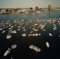 "1991 June ..Redevelopment.Downtown South (R-9)..Harborfest Aerials from helicopter.Low angle from Portsmouth.2 1/4""  color negs...NEG#.NRHA#.06/91  (REDEV  :DT  Sth3:2  :9  :1-F3)."