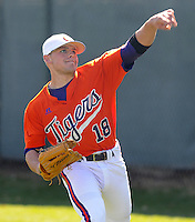 Clemson outfielder Addison Johnson (18) prior to a game between the Charlotte 49ers and Clemson Tigers Feb. 22, 2009, at Doug Kingsmore Stadium in Clemson, S.C. (Photo by: Tom Priddy/Four Seam Images)