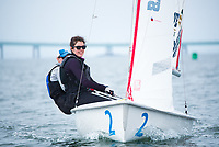 Skipper Jen Killian,'19, and Crew Emma Sexton,'20, practice with other members of the Salve Regina Sailing Team in Newport Habor.
