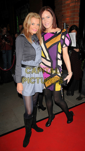 """GUEST & LINZI STOPPARD .Attending Kathy Lette's """"To Love, Honour and Betray"""" book launch party, London, England, September 24th 2008..full length DVF print dress black tights block colour graphic print Diane Von Furstenberg .CAP/CAS.©Bob Cass/Capital Pictures"""
