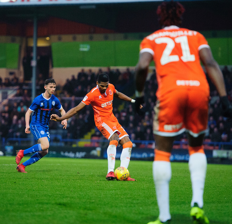 Blackpool's Michael Nottingham scores his side's equalising goal to make the score 1-1<br /> <br /> Photographer Chris Vaughan/CameraSport<br /> <br /> The EFL Sky Bet League One - Rochdale v Blackpool - Wednesday 26th December 2018 - Spotland Stadium - Rochdale<br /> <br /> World Copyright © 2018 CameraSport. All rights reserved. 43 Linden Ave. Countesthorpe. Leicester. England. LE8 5PG - Tel: +44 (0) 116 277 4147 - admin@camerasport.com - www.camerasport.com
