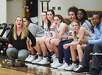 NWA Democrat-Gazette/CHARLIE KAIJO Har-Ber High School head coach Kimberly Jenkins watches her players during the Crabtree Invitational basketball tournament, Thursday, December 6, 2018 at Tiger Arena at Bentonville High School in Bentonville. Har-Ber High School beat Huntsville High School, 47-42.