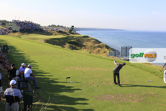 David Lingmert (SWE) tees off the par3 12th tee during Saturday's Round 3 of the 97th US PGA Championship 2015 held at Whistling Straits, Mosel, Kohler, Wisconsin, United States of America. 15/08/2015.<br /> Picture Eoin Clarke, www.golffile.ie