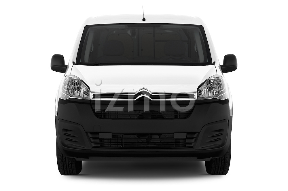 Car photography straight front view of a 2016 Citroen Berlingo-Furgon Club-M 4 Door Car Van Front View