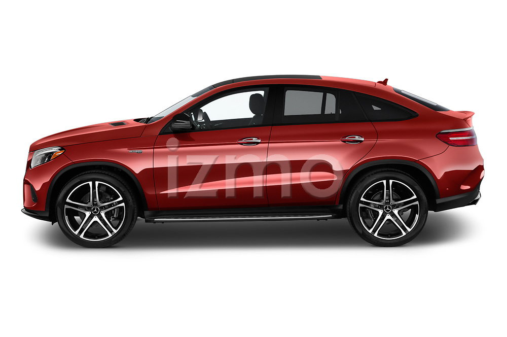 Car driver side profile view of a 2018 Mercedes Benz GLE-Class Coupe GLE43 AMG 4MATIC 5 Door SUV