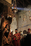 Bethlehem, Greek Orthodox Patriarch Theophilus III of Jerusalem on Christmas Day at the Church of the Nativity