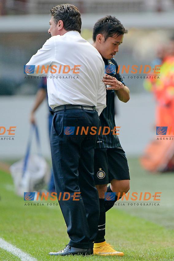 Yuto Nagatomo, Walter Mazzarri Inter<br /> Milano 28-09-2014 Stadio Giuseppe Meazza - Football Calcio Serie A Inter - Cagliari. Foto Giuseppe Celeste / Insidefoto