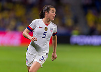 LE HAVRE,  - JUNE 20: Kelley O'Hara #5 yells during a game between Sweden and USWNT at Stade Oceane on June 20, 2019 in Le Havre, France.