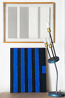 striped blue and black book