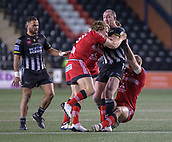 22nd March 2018, Select Security Stadium, Widnes, England; Betfred Super League rugby, Widness Vikings versus Salford Red Devils; Chris Houston is halted be Logan Tomkins