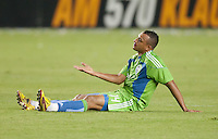 CARSON, CA – NOVEMBER 7:  Seattle Sounders defender Tyrone Marshall (14) during a soccer match at the Home Depot Center, November 7, 2010 in Carson, California. Final score LA Galaxy 2, Seattle Sounders 1.