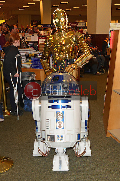 """C-3PO, R2-D2<br /> at the Carrie Fisher book signing for """"The Princess Diarist,"""" Barnes & Noble, Los Angeles, CA 11-28-16<br /> David Edwards/DailyCeleb.com 818-249-4998"""