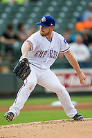 Round Rock Express pitcher Robbie Ross Jr. (46) delivers a pitch to the plate during the Pacific Coast League baseball game against the Fresno Grizzlies on June 22, 2014 at the Dell Diamond in Round Rock, Texas. The Express defeated the Grizzlies 2-1. (Andrew Woolley/Four Seam Images)