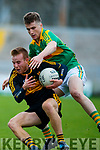 Fionn Fitzgerald Dr Crokes in action against Robert Wharton South Kerry in the Senior County Football Final in Austin Stack Park on Sunday