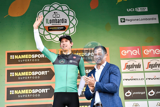 Bauke Mollema (NED) Trek-Segafredo wins the 113th edition of Il Lombardia 2019 running 243km from Bergamo to Como, Italy. 12th Octobre 2019. <br /> Picture: Marco Alpozzi/LaPresse | Cyclefile<br /> <br /> All photos usage must carry mandatory copyright credit (© Cyclefile | LaPresse/Marco Alpozzi)
