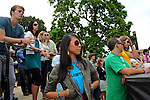 A volunteer (in blue shirt) is seen backstage at the Pitchfork Music Festival in Union Park in Chicago, Illinois on July 19, 2009.