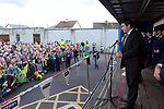 18-1-2017: Minister Brendan Griffin welcomes The Kerry Minor team on arrival at Fitzgerald Stadium Killarney  at the homecoming on Monday evening.<br /> Photo: Don MacMonagle