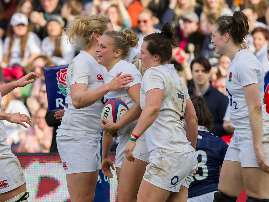 Kay Wilson celebrates scoring her fifth try, LtoR Amber Reed, Kay Wilson, Marlie Packer, Emily Scarratt, England Women v Scotland Women in a 6 Nations match at Twickenham Stoop, London, England, on 11th March 2017 Final Score 64-0
