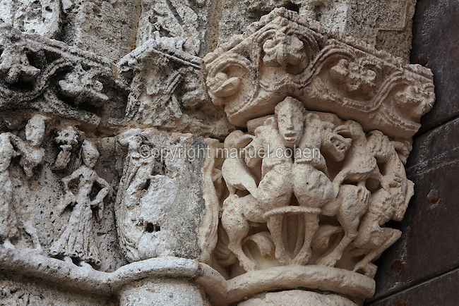 Carved capital with animals and birds on the North portal of the Church of St Radegonde, built 1094 in Romanesque style, in Talmont sur Gironde, Poitou-Charentes, France. The church overlooks the Gironde Estuary and is on the Via Turonensis pilgrimage route on the way to Santiago de Compostela. Picture by Manuel Cohen