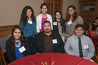 From left, standing, Saaron Ramirez '17, Amanda Morales '16, Marixa Rodriguez '14 and Celine Canche '14. From left, seated, Karina Ortiz '15, Angel Cervantes '80 and Paul Castillo '80. Occidental College hosts the Scholarship Appreciation Reception, February 13, 2014 in Dumke Commons of Swan Hall.  (Photo by Marc Campos, Occidental College Photographer)