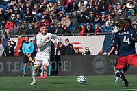 FOXBOROUGH, MA - MARCH 7: Alvaro Medran #10 of Chicago Fire chases down a pass during a game between Chicago Fire and New England Revolution at Gillette Stadium on March 7, 2020 in Foxborough, Massachusetts.