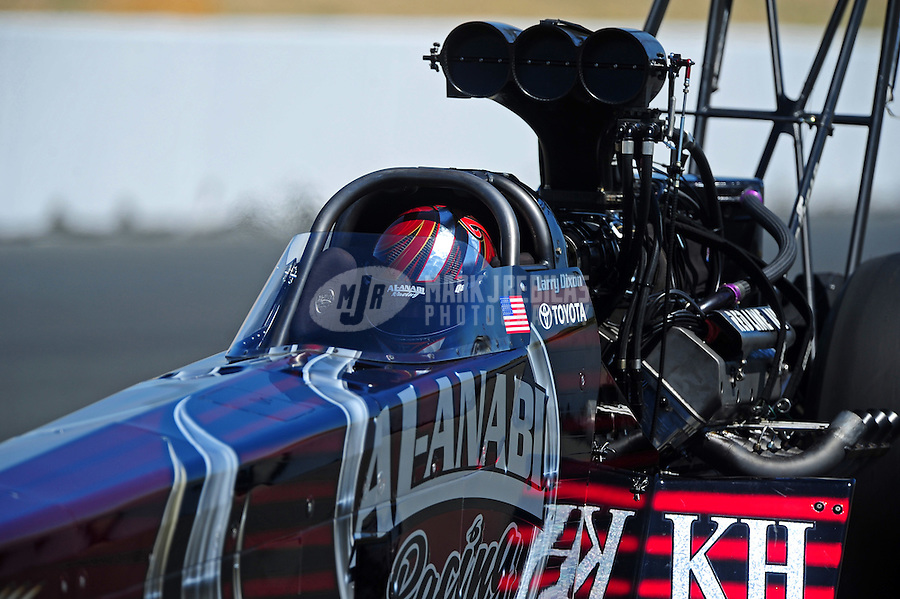 Jul. 30, 2011; Sonoma, CA, USA; NHRA top fuel dragster driver Larry Dixon during qualifying for the Fram Autolite Nationals at Infineon Raceway. Mandatory Credit: Mark J. Rebilas-