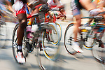Panning motion blur of a professional bicycle race.