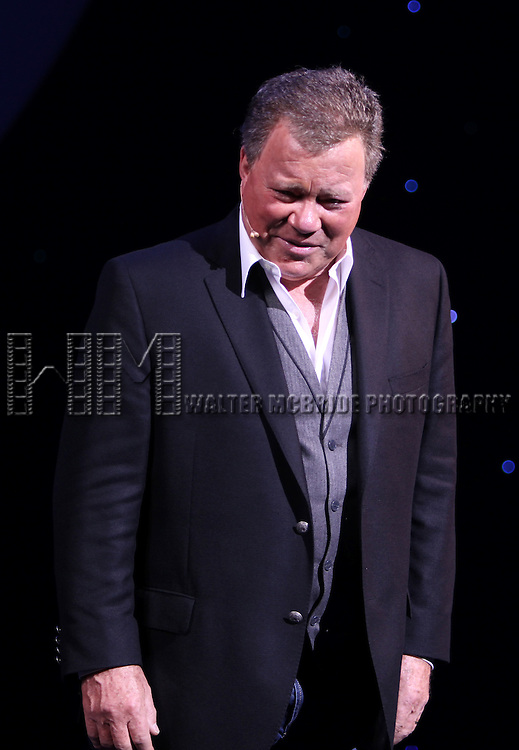 William Shatner during the Opening Night Curtain Call for 'Shatner's World - We Just Live in it'  at the Music Box Theatre in New York City, 2/16/2012