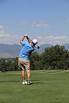 Caucasian man teeing-off at City Park Golf Course, Denver, Colorado, USA